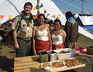 Senior Sam Vaughn visits with Scouts at the World Scout Jamboree in Sweden.
