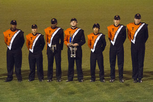 Members of the drumline receive their awards during the Fire Ant Classic.