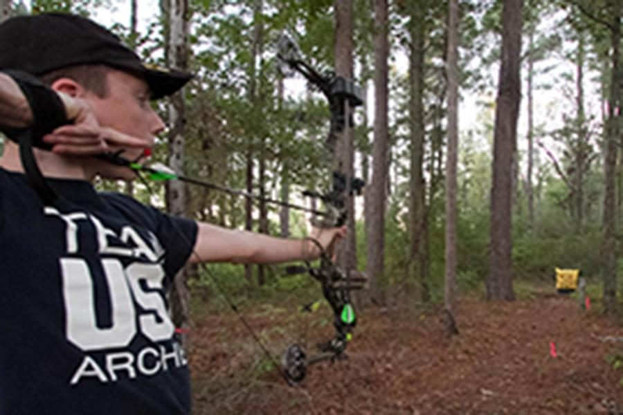 Freshman Cullen Schoen practices daily in hopes of pursuing a professional archery career.