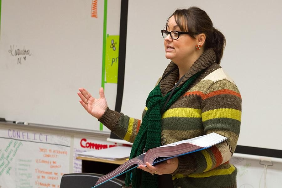 English teacher Jenny Walker speaks to one of her classes. Walker will take over as director of One Act Play following the Thanksgiving break.
