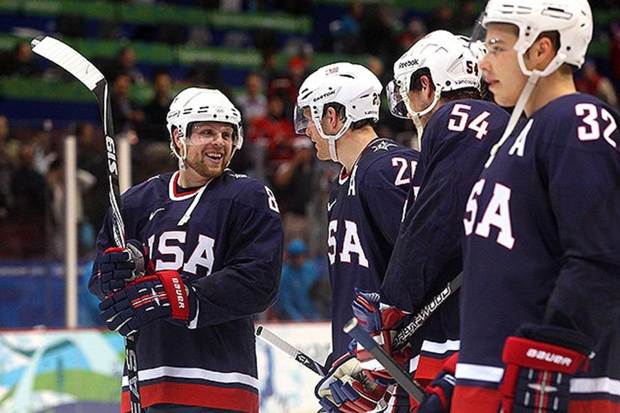 Members of the U.S. Olympic men's hockey team before a game.