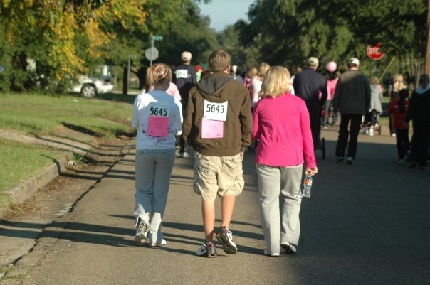 Caroline Purtle, Blake Purtle and Michelle Purtle walking Race for the Cure in 2009