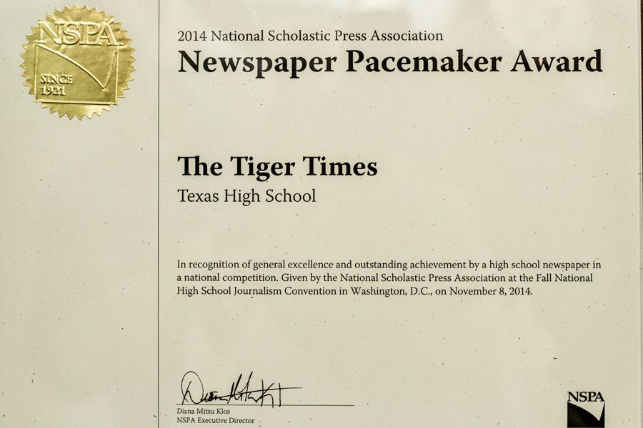 Tiger Times wins Pacemaker for print edition