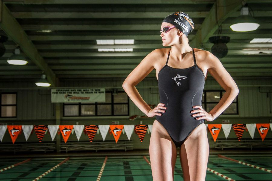 Lexi Watkins poses in front of the Texarkana College swimming pool