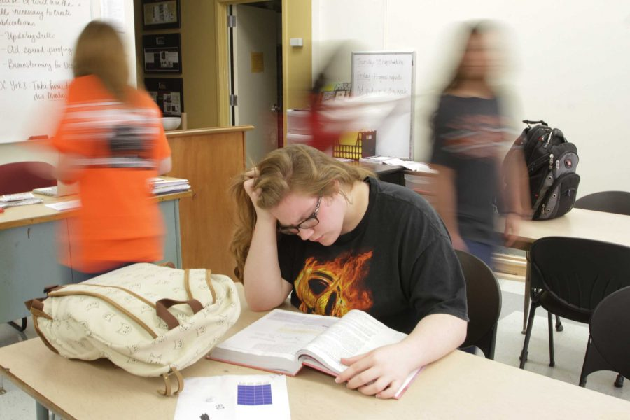 Junior Logan Smith feels the world revolving, spinning out of control as she bares the stress of school and grades.