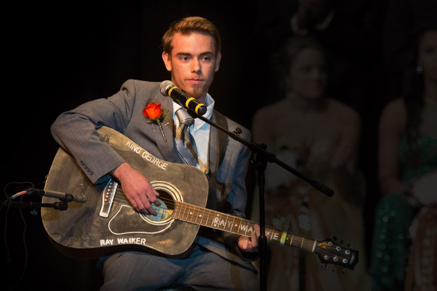 Senior Ray Walker performs during the homecoming presentation.