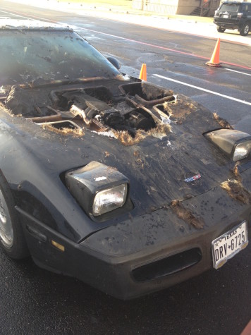 Car pictured after fire with damage. Photo taken by Hudson Davis