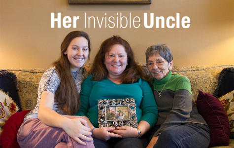 Leah Crenshaw, Mary Kaye Crenshaw (mother) and Claire Taylor (grandmother) hold a picture of Leah's uncle.