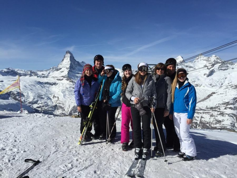 Doan family and friends pictured on the Swiss Alps.