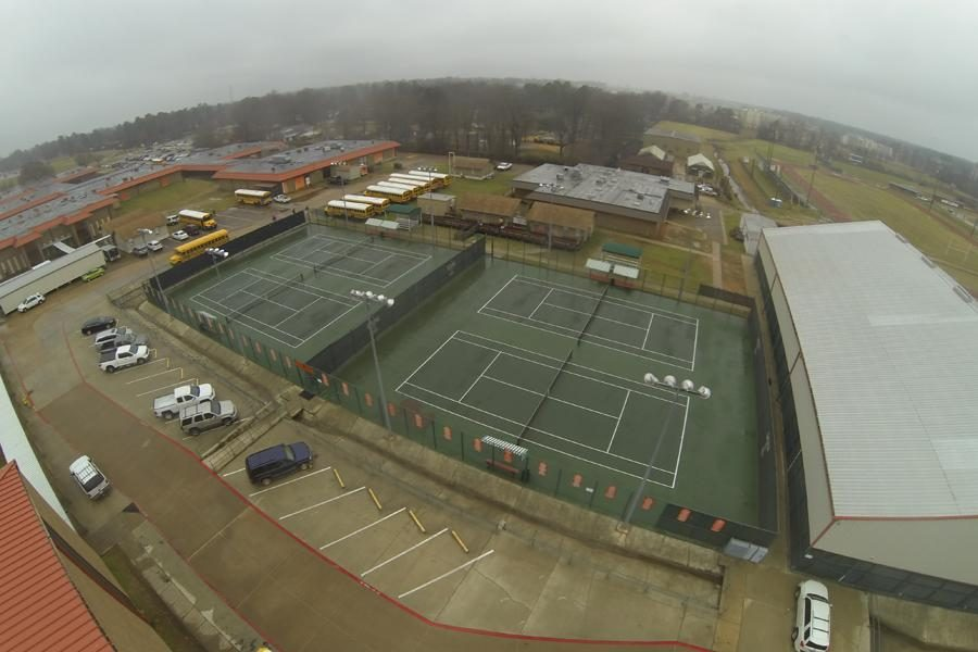 The school's tennis courts and facilities. Picture taken by the drone