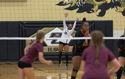 A lady tiger serves the ball over the net during a summer tournament at Pleasant Grove.
