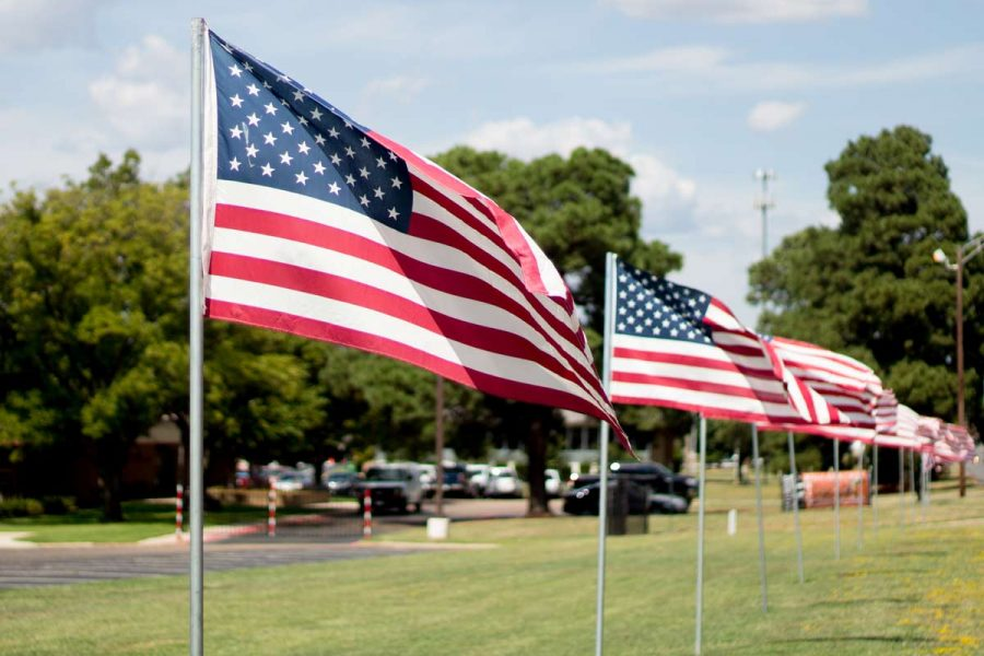 American flags wave in remembrance of those fallen on 9/11.