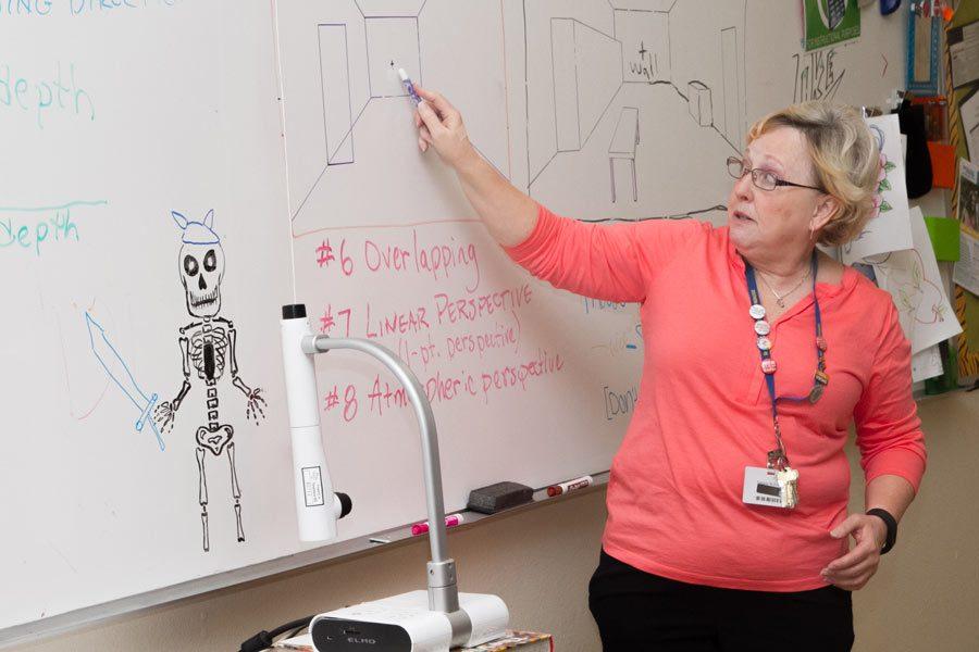 AP+Art+History+teacher%2C+Debbie+Nicholas+explains+perspective+to+her+students.