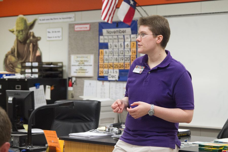 Amy Baker-Kireev teaches her students about biology.