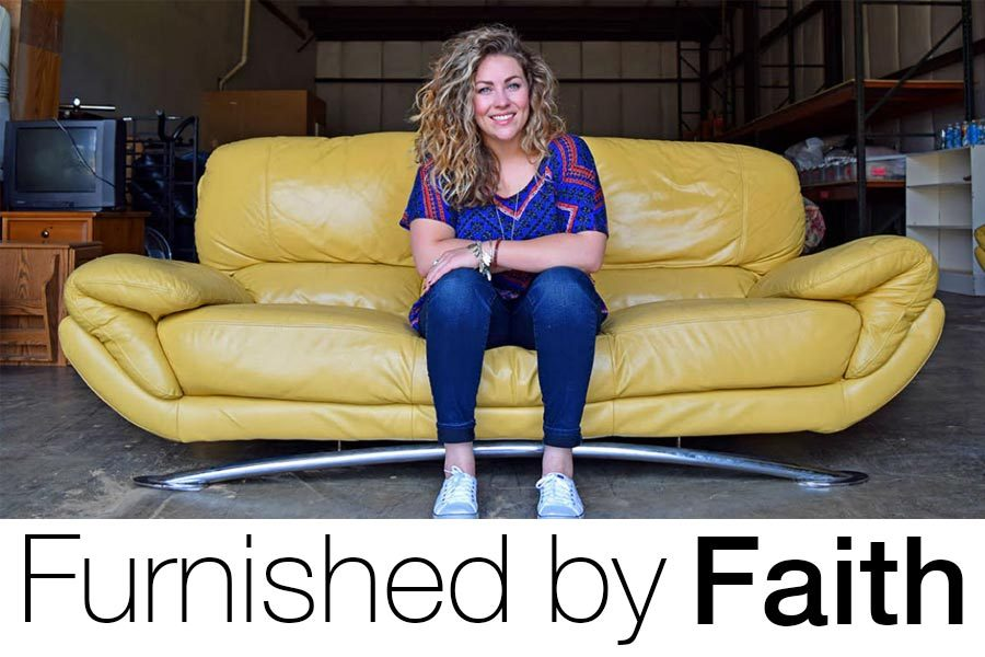 Founder Hope Mulkey sits on a couch donated to Furnished by Faith. Furniture drop off days are the second Saturday of each month. Submitted photo.