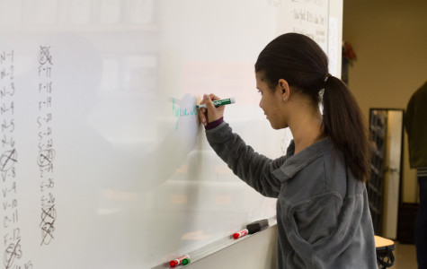 Sophomore Kyzia Johnson writes her name on the board during class.