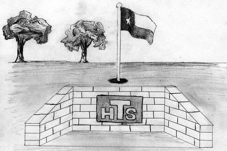 The original plan for the memorial included a 60-foot flagpole next to a granite wall on which names would be engraved. Drawing by Colton Johnson.