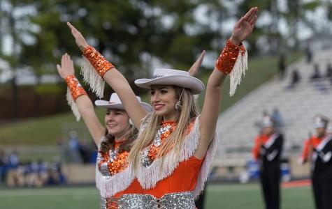 Senior Samantha Shoalmire dances at halftime with the drill team.