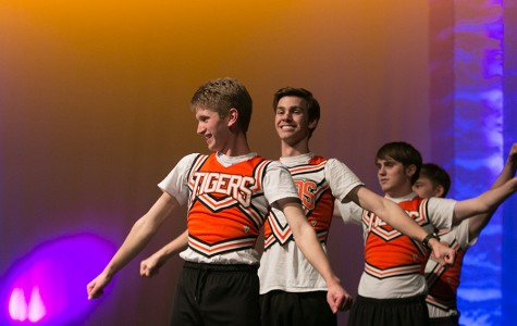 Sophomores Connor Brooks, Landon Ryden, and Cameron Tartly act out a skit at Student Council's annual dinner theater.