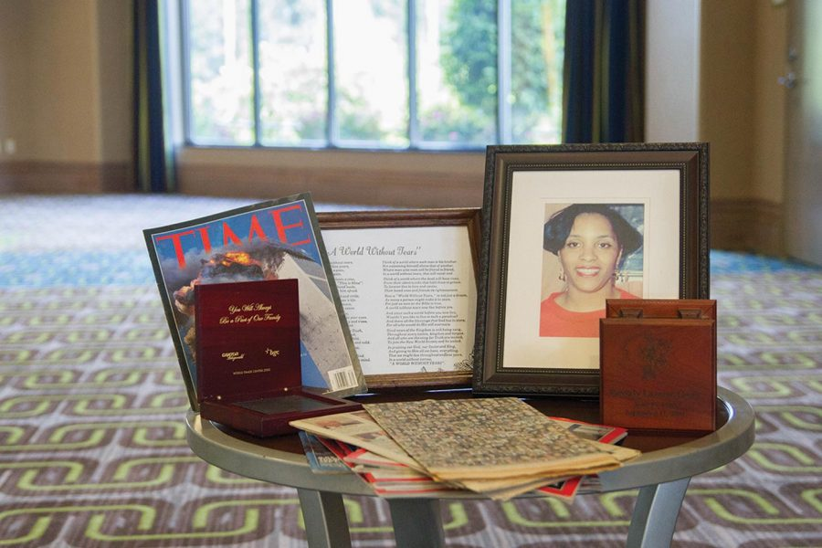 Heirlooms to commemorate the death of Beverly Curry in the September 11 attacks sit on table.