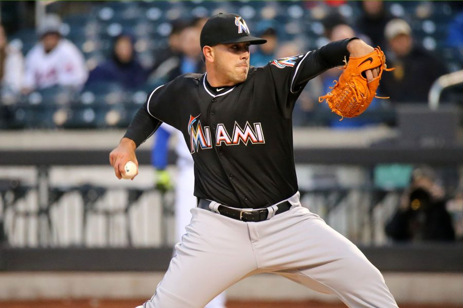 Jose Fernandez delivers a pitch April 12, 2016 aginst the New York Mets. Fernandez was killed in a boating accident Sept. 25. Photo by Aruturo Pardavila III. Used under Creative Commons license