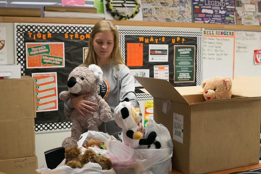 Senior Ashlyn Sander organizes bears for the drive.