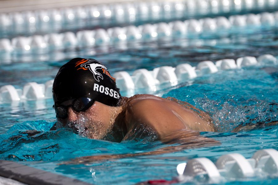 Sophomore Dylan Rosser prepares for an open turn. The swim team competed in Tyler at the Tyler Quad Meet on October 8.