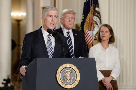 Supreme Court nominee Judge Neil M. Gorsuch speaks in the East Room of the of White House in Washington, D.C., on Tuesday, Jan. 31, 2017. Photo by Olivier Douliery