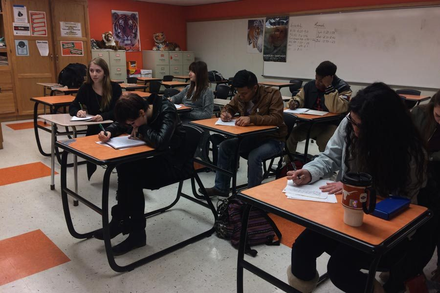 The Literary and Art Magazine class works diligently. Submitted photo.