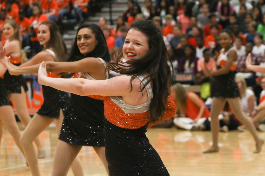 Stark dances at the pep rally before the game against Liberty Eyleau. She will serve as captain after being on the team for three years.