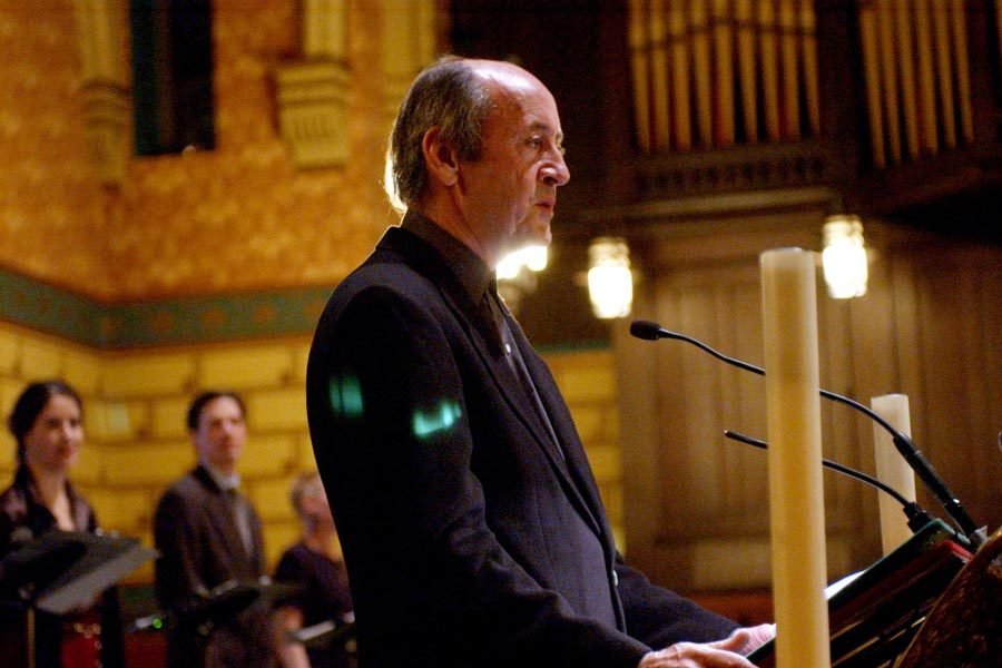 Poet Laureate of the United States Billy Collins speaks at the 90th anniversary celebration of Poetry magazine at St. James Episcopal Cathedral in Chicago, Illinois. Photo by Charles Cherney, via MCT Campus.