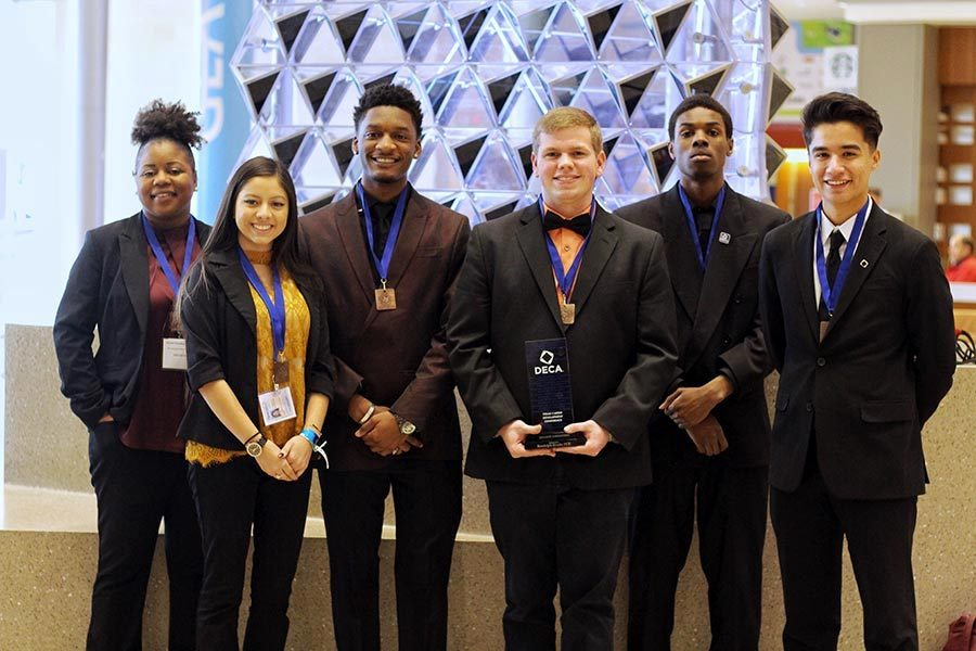 Seniors Ravon Cornelius, Marisol Aguilar, Isaiah Germany Daylan O'Neal, Michael Murphy and Odin Contreras pose after finishing competition. O'Neal advanced to internationals and will travel to California in April. Submitted photo.