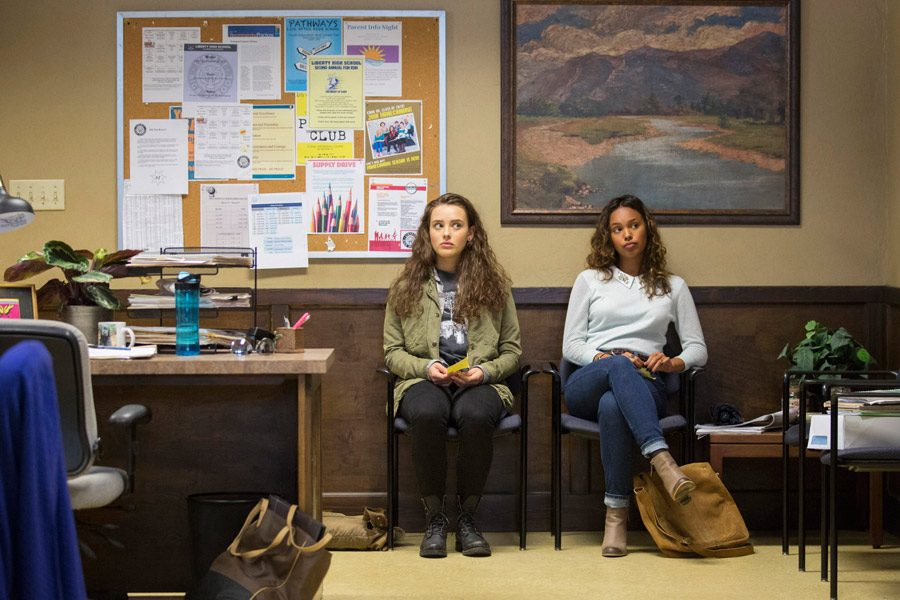 Katherine Langford, left, and Alisha Boe play frenemies in the Netflix series