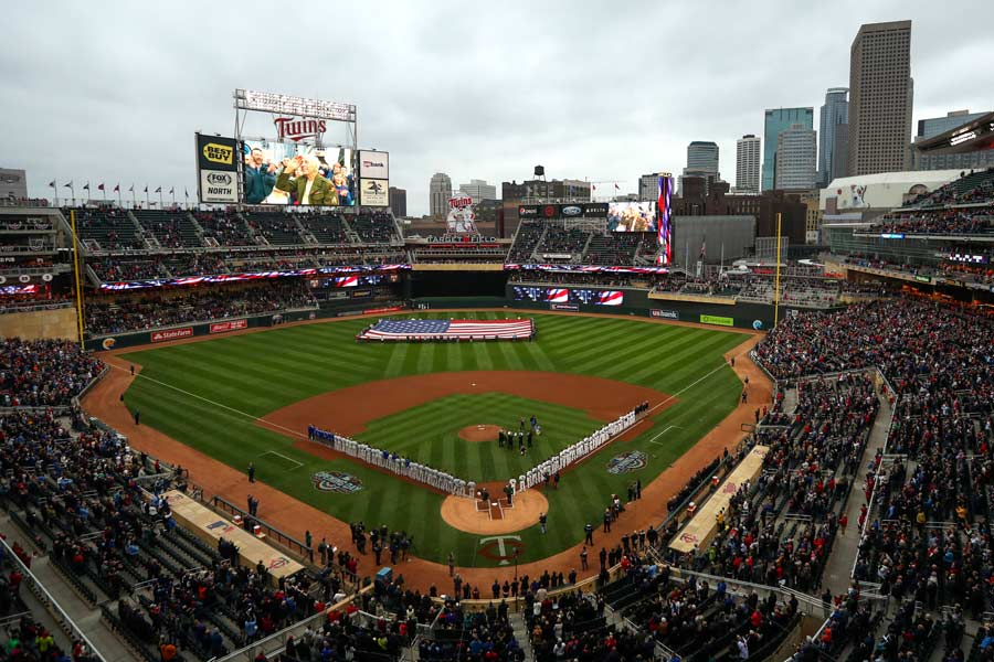 The stadium stood for the national anthem before the game between the Minnesota Twins faced the Kansas City Royals on Monday, April 3, 2017 at Target Field in Minneapolis, Minn. Photo by Jeff Wheeler, courtesy of MCT Campus.