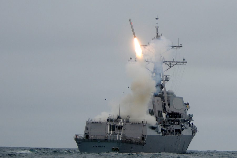 Guided missile destroyer the USS Sterett launches a Tomahawk missile. President Trump authorized 59 Tomahawk missiles to be launched against a Syrian air base on April 6, 2017. Photo by U.S. Navy