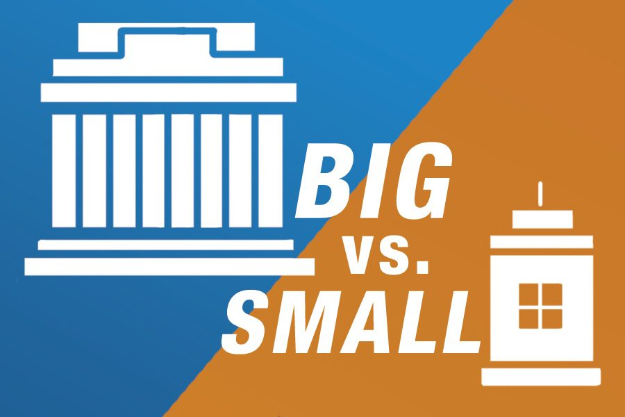 big vs small colleges Whether attending a small college or a large university, college settings vary read on to discover whether big-city living or a small-town atmosphere might be better for you.