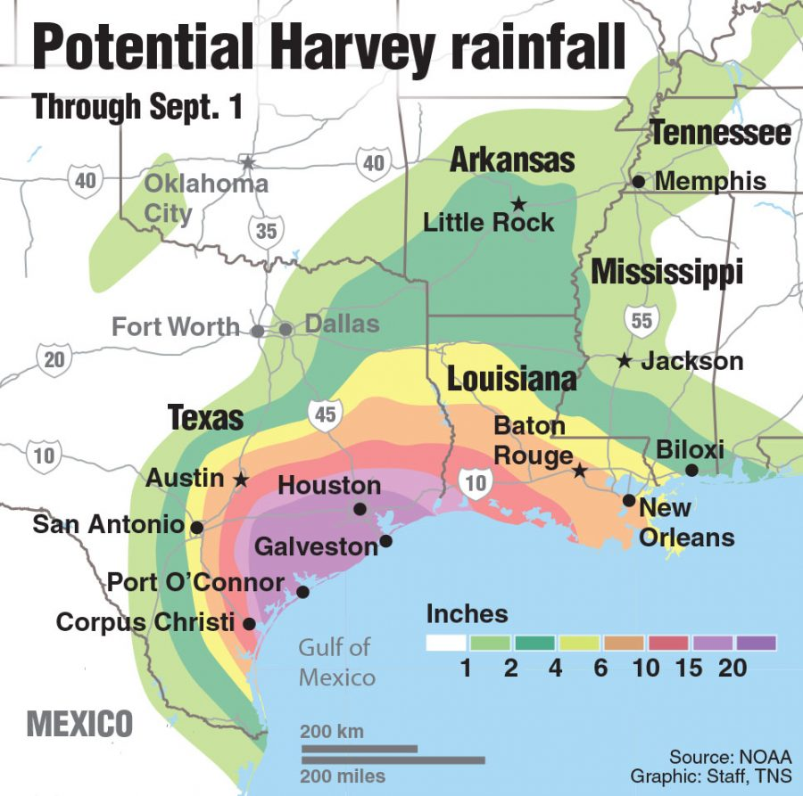 UPDATE: Map showing rain potential from Harvey.
