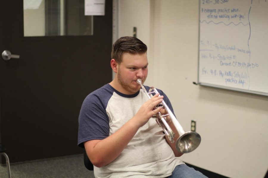 Senior Colin Runnels plans to take the skills he has learned in band to colleges and his future career.