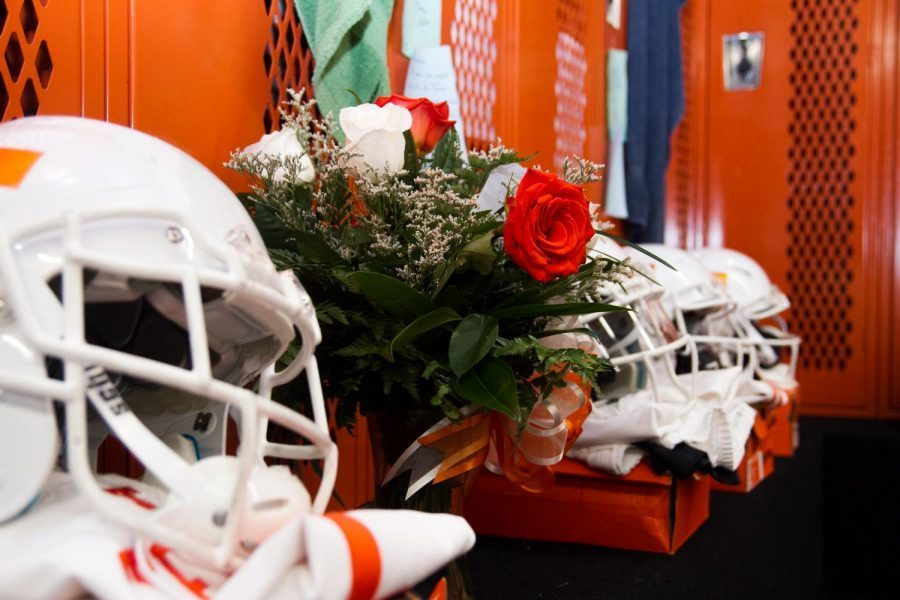 These flowers are located under former Leonard Park's locker.