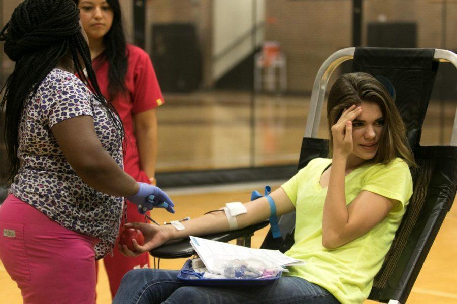 Senior Sierra Self gives blood at last years blood drive.