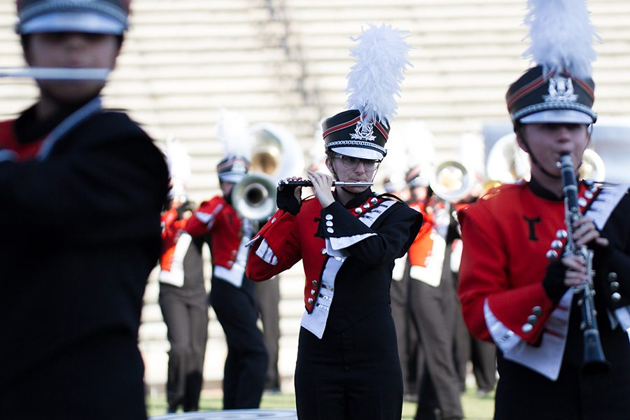 The Texas High Marching Band placed 1st at the UIL competition in Mt. Pleasant. Senior Katherine Stoeckl plays the flute and the violin during the perfomance.