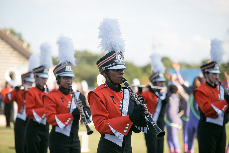 Texas High students perform in the Tiger Band at Grim for a regional contest.