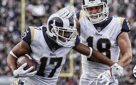 Rams receiver Robert Woods celebrates with teammate Cooper Cupp after scoring a third quarter touchdwon against the Texans Sunday, Nov. 12, 2017 at the Coliseum in Los Angeles. The Rams won, 33-7.  (Robert Gauthier/Los Angeles Times/TNS)