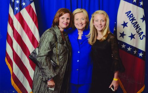 Along with her aunt, Betsy Lavender, sophomore Hollan Borowitz has her photo made with former Secretary of State and presidential candidate Hillary Clinton. Submitted photo