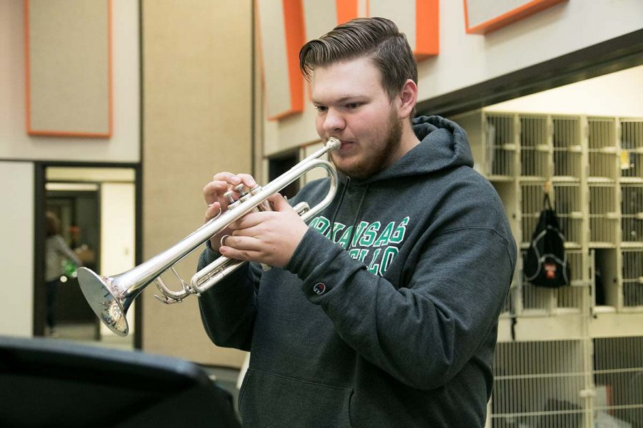 Senior Colin Runnels practices for his All-Region audition