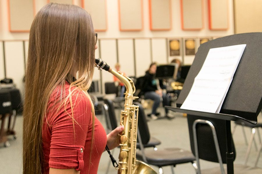 Freshman Gabby Reed practices her instrument for All-Region audtions. She earned a place with the All-Region Band.