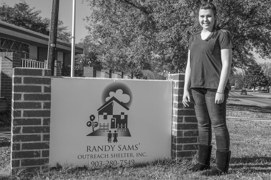 Senior Celeste Anderson devotes time to teach and inform the residents of Randy Sams Outreach Shelter about diabetes.