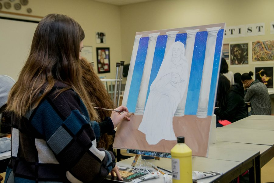 Senior+Karissa+Smith+works+on+her+painting+for+VASE%2C+which+is+a+scholastic+art+competition+for+high+school+students.+They+will+submit+their+work+on+Feb.+24.+