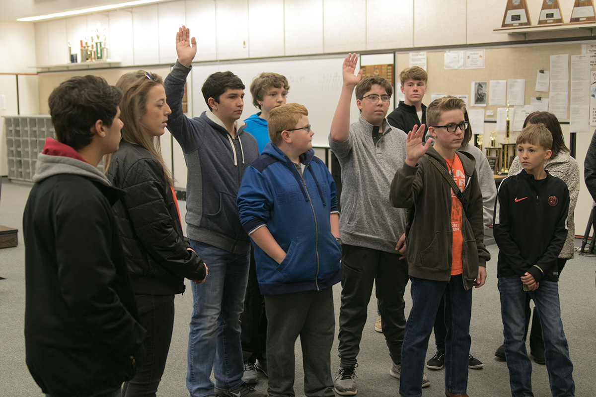 Red Lick students ask questions during their tour of the Texas High Band Hall. Freshmen orientation was on Jan. 12.