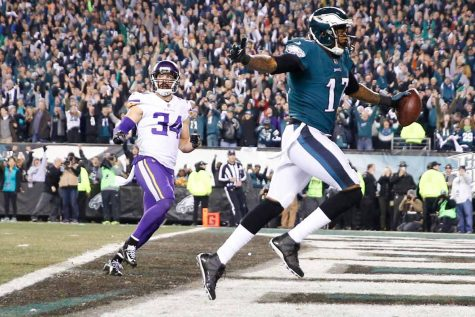Philadelphia Eagles wide receiver Alshon Jeffery scores a second quarter touchdown past Minnesota Vikings strong safety Andrew Sendejo during the NFC Championship game on Sunday, Jan. 21, 2018 at Lincoln Financial Field in Philadelphia, Pa. (Yong Kim/Philadelphia Inquirer/TNS)